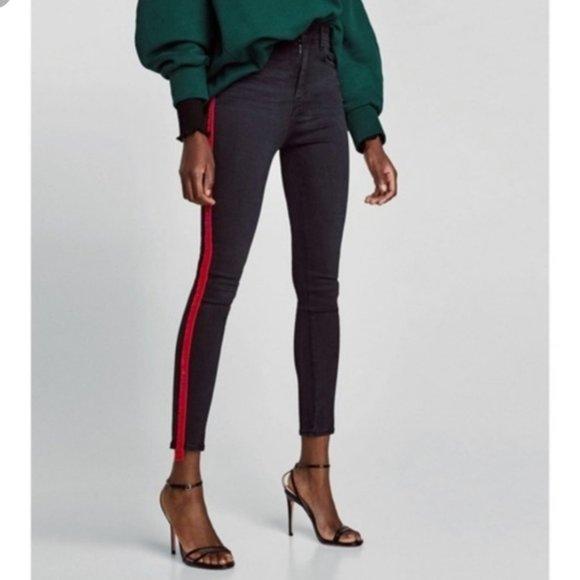 Zara High Waisted Jeans with Red Velvet Stripe
